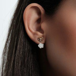 گوشواره دوبل گل صدفی و رز برجسته - الی گلد گالری