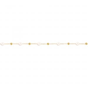 دستبند گوی تراشدار و مروارید - الی گلد گالری