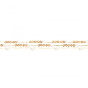 دستبند سه رج مروارید و گوی تراشدار 1 - الی گلد گالری