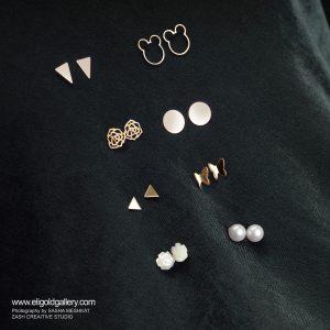 گوشواره سکه ای متوسط، گوشواره میکی موس مفتولی، گوشواره مثلث کشیده، گوشواره رز تخت - الی گلد گالری