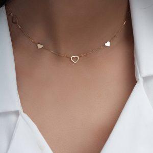 گردنبند قلب ترکیبی 1 - الی گلد گالری