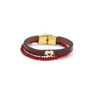 دستبند 2قلب و سنگ و چرم زرشکی - الی گلد گالری
