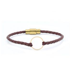 دستبند آرن و چرم زرشکی(1.9سانت) - الی گلد گالری