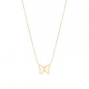 گردنبند پروانه مینایی - الی گلد گالری