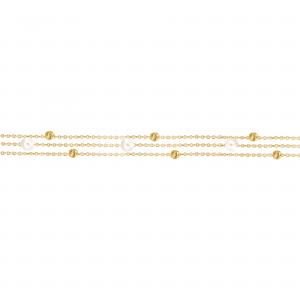 دستبند سه رج مروارید و گوی تراشدار 2 - الی گلد گالری