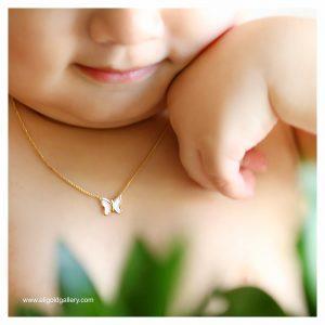 گردنبند پروانه مینایی بچه گانه - الی گلد گالری
