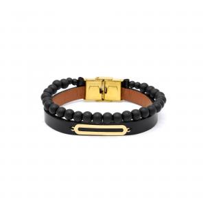دستبند بیضی و سنگ و چرم مردانه - الی گلد گالری