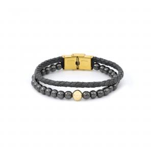 دستبند سنگ و چرم لوله ای طوسی گوی مردانه - الی گلد گالری