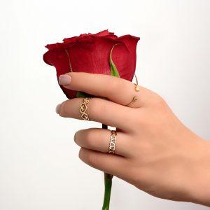 انگشتر تمام قلب تو خالی، انگشتر تمام قلب فردار، انگشتر قلب و گوی - الی گلد گالری