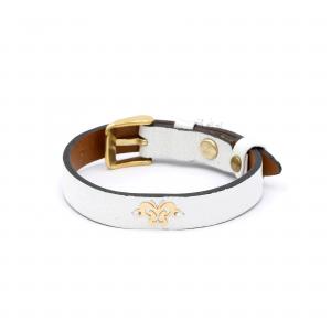دستبند پروانه و چرم طوسی روشن - الی گلد گالری