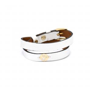 دستبند پروانه و دو دور چرم طوسی روشن - الی گلد گالری
