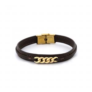 دستبند کارتیه و چرم مردانه (5 حلقه) (2.8 سانت) - الی گلد گالری