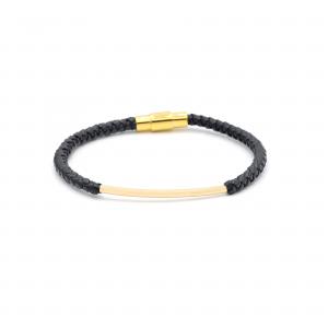 دستبند لوله ای و چرم سورمه ای مردانه - الی گلد گالری