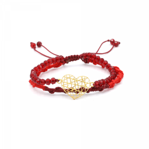 دستبند بافت و سنگ قرمز فیوژن قلب - الی گلد گالری