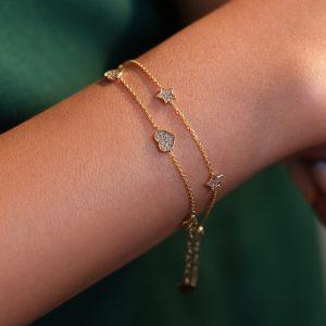 دستبند تمام قلب نگینی، دستبند تمام ستاره نگینی - الی گلد گالری