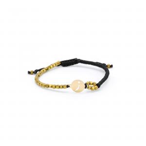 دستبند حرف ز بافت و سنگ طلایی و مشکی - الی گلد گالری