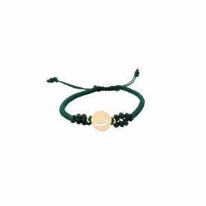 دستبند حرف ف و بافت و سنگ سبز - الی گلد گالری