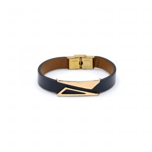 دستبند دو مثلث پر و خالی و چرم سورمه ای مردانه - الی گلد گالری