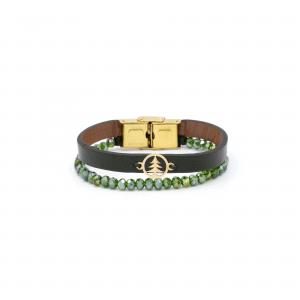 دستبند دایره و درخت و سنگ و چرم سبز - الی گلد گالری