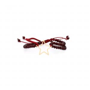 دستبند بافت و سنگ زرشکی طرح الناز مفتولی - الی گلد گالری