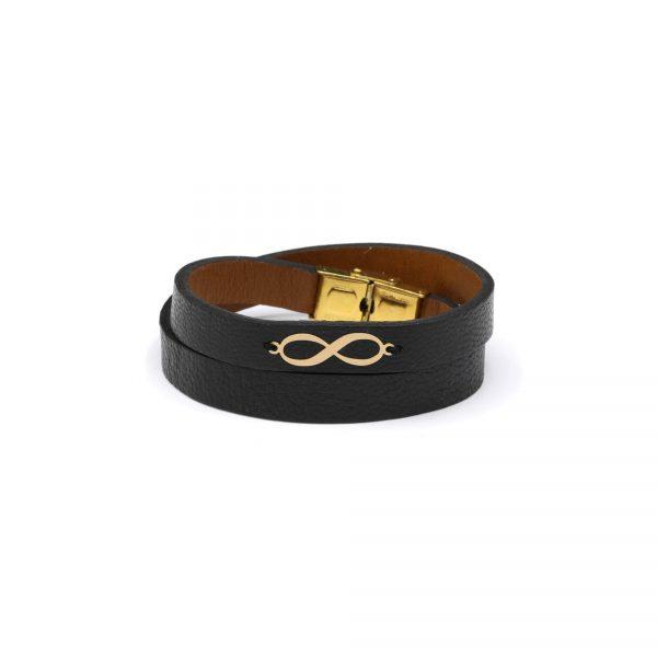 دستبند بینهایت و چرم دو دور مشکی مردانه - الی گلد گالری