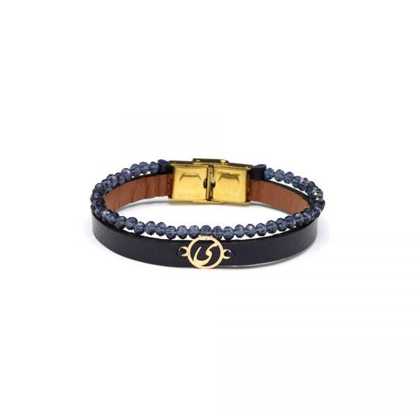 دستبند حرف ی و چرم و سنگ سورمه ای - الی گلد گالری