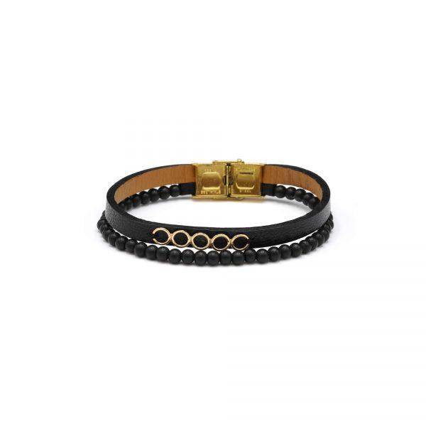 دستبند چرم و سنگ پنج دایره مردانه - الی گلد گالری