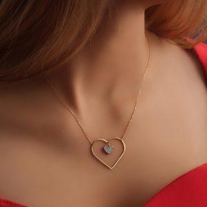 گردنبند قلب ساده و تک قلب نگینی - الی گلد گالری