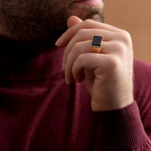 انگشتر سنگ مستطیل مشکی - الی گلد گالری
