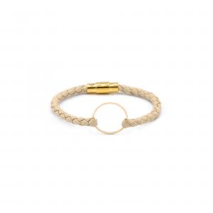 دستبند آرن و چرم کرم(1.9سانت) - الی گلد گالری
