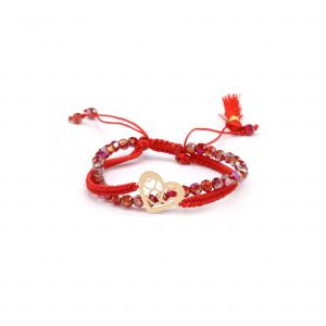 دستبند بافت و سنگ قرمز قلب ها - الی گلد گالری