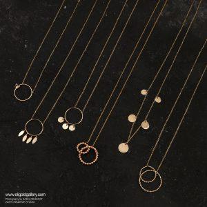 گردنبند آرن سکه ای بزرگ، گردنبند طرح آرن پیچی، گردنبند پنج سکه ای، گردنبند دو دایره گوی البرناردو - الی گلد گالری