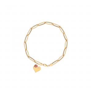 دستبند زنجیر بیضی و قلب و مارکو - الی گلد گالری