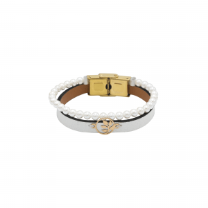 دستبند دایره و برگ و سنگ و چرم سفید - الی گلد گالری