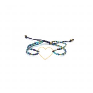 دستبند سنگی آبی قلب ساده - الی گلد گالری