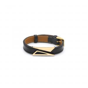 دستبند دو مثلث پر و خالی و چرم مشکی کمربندی مردانه - الی گلد گالری