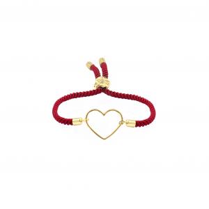 دستبند قلب ساده و بند طنابی - الی گلد گالری