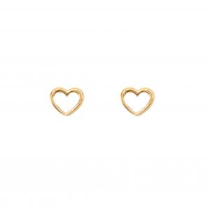 گوشواره قلب تو خالی کوچک - الی گلد گالری