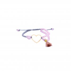 دستبند بافت و سنگ صورتی و طوسی قلب ساده - الی گلد گالری